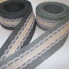 Grey Pink and Ivory Burlap Lace Ribbon by HouseofBurlap on Etsy, $12.00
