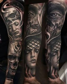Black And Grey Wash Tattoos