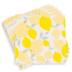 20 servilletas de papel blanco y amarillo 25x25 cm CITRON