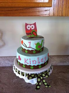 Owl first birthday cake.