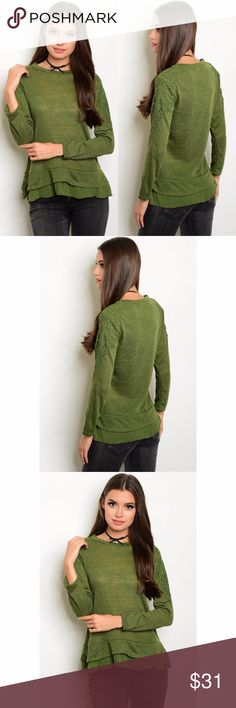 Olive Knit Top Lightweight & Soft Olive Knit Top. Beautiful Arm Detail & Ruffle Bottom. Made of 100% Polyester. Pairs great with your favorite pair of jeans, blanket scarf & boots.     No Trades   No Off Poshmark Sales   Bundles Are Suggested Tops