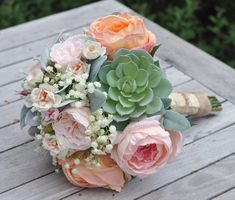Peach and Pink Cabbage Roses, Succulents, Baby Breath silk flower bouquet..jpg