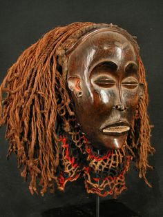 CHOKWE Mwana Pwo Mask. Angola. 18cm.(wood only). Wood, veg.mat. Mid 20thC. Coll.PD-Jipsinghuizen-NL. African Masks, African Art, Ready For Marriage, African Sculptures, Art Premier, Masks Art, Beautiful Mask, African Design, The Victim