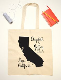 Items similar to Tote Bag Wedding Favor - California State Illustration on Etsy