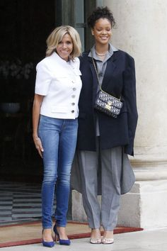 Rihanna just met with Brigitte Macron, the First Lady of France, and we can't stop flipping out—see their full outfits.