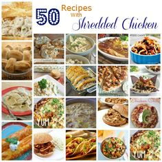 These 50 recipes with shredded chicken will help you have dinner on the table in no time. I always try to keep shredded chicken in the freezer and thaw it the night before. It makes dinner planning an (Shredded Chicken Meals) Turkey Recipes, New Recipes, Cooking Recipes, Favorite Recipes, Healthy Recipes, Recipes Dinner, Easy Recipes, Whole30 Recipes, Copycat Recipes