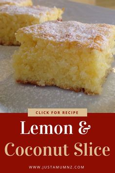 Lemon Coconut Slice This easy lemony slice recipe is the only brownie recipe you need! It is my go to and makes the best dessert or sweet treat. Packed full of lemon flavour. Tray Bake Recipes, Easy Baking Recipes, Coconut Recipes, Brownie Recipes, Cake Recipes, Dessert Recipes, Lemon Recipes Easy, Recipes Using Egg Yolks, Lemon Coconut Slice