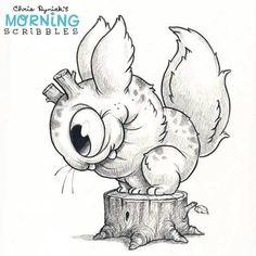 Chris Ryniak - morning scribbles - cute and funny art Cute Monsters Drawings, Cartoon Monsters, Funny Drawings, Little Monsters, Cartoon Drawings, Character Drawing, Character Design, Monster Drawing, Kawaii Doodles