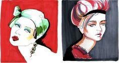 Fashion Illustrator Ladiga Baiba has a stunning collection of markers fashion illustration. this beautiful portraits are from her portfolio.