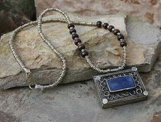 Afghan old necklace lapis lazuli stone necklace silver plated necklace
