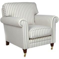 Shabby Chic Wiltshire grey stripe armchair