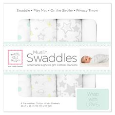 SwaddleDesigns®️️ Cotton Muslin Swaddle Blankets - Goodnight Starshine - 4pk - Sterling Gray : Target