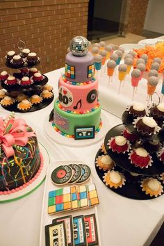80's birthday party cookies and sweets! See more party ideas at CatchMyParty.com!
