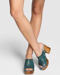 Sandalias de tacón de mujer de Felmini de piel en verde