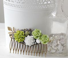 """Romantic Bridal Hair Piece Vintage Style by ShabbyCottageAdorned. A stunning and romantic bridal hairpiece. If you are following trends for your wedding then you know """"greenery"""" is the color for 2017. I didn't plan it but this vintage style bridal comb fits the bill beautifully! It doesn't matter if you tuck it into an updo, braid or simply sweep your hair back, a decorative hair comb is tres belle. While perfect for weddings, for bridesmaids, mothers of the bride and flower girls, you…"""
