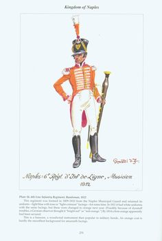 Kingdom of Naples: Plate 16. 6th Line Infantry Regiment, Bandsman, 1812.