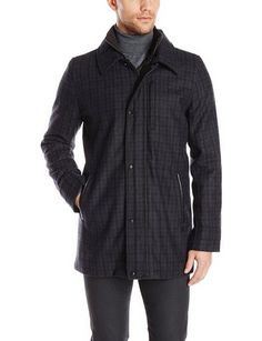nice Men's Pattern Wool Car Coat - For Sale