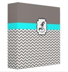 Gray Chevron Monogrammed Binder  Gray and by HappywoodGoods, $36.00