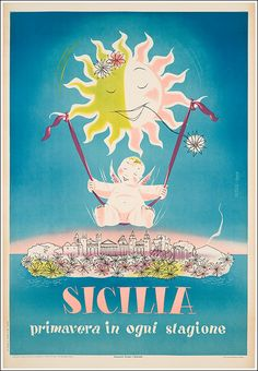 1952 Sicily, Spring in every season, Italy vintage travel poster
