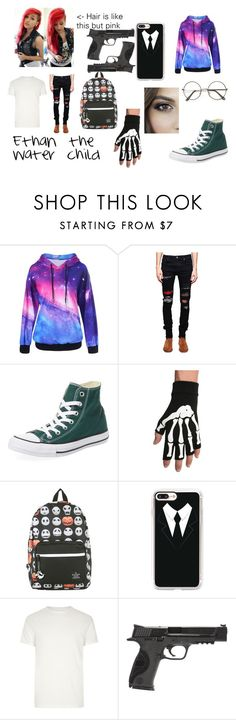 """""""Ethan the Water child"""" by universalspacetrash on Polyvore featuring AMIRI, Converse, Valor, Disney, Casetify, River Island, Smith & Wesson, Demigod, gender and Defender"""
