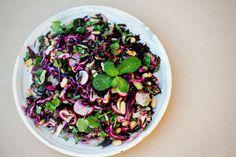 Wild Rice, Cabbage, Radish & Peanut Salad with Tangy Ginger Dressing