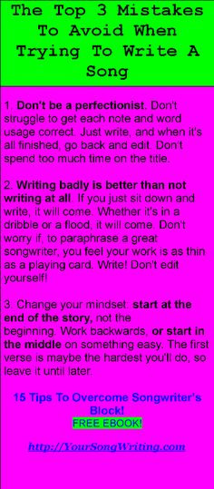 15 TIPS TO OVERCOME SONGWRITER'S BLOCK! FREE EBOOK! http://yoursongwriting.com/