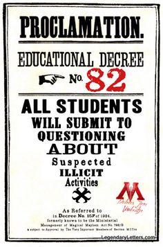 Educational Decree Wizarding Proclamation 82 (Illicit Activities) printable .pdf file on Etsy, $5.00