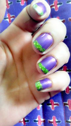 Joker nails purple green nails