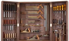 Tool Cabinet - Haberdashery & Tools - Books, Bags & Stationery - The Conran Shop UK Woodworking Tool Cabinet, Essential Woodworking Tools, Unique Woodworking, Woodworking Hand Tools, Woodworking Workbench, Woodworking Workshop, Woodworking Projects, Intarsia Woodworking, Woodworking Furniture