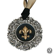 Ornament Silver Christmas with Fleur Black and Gold Theme