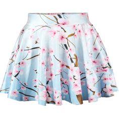 Peach Print Flare Skirt ($9.99) ❤ liked on Polyvore featuring skirts, blue, patterned skirt, peach skirt, skater skirt, circle skirt and flared skirt