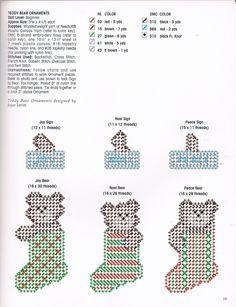 BEARY MERRY TEDDY BEAR ORNAMENTS by JOYCE LEVITT 2/2 - FROM MAKE IT MERRY IN PLASTIC CANVAS BOOK 5