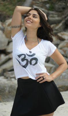 Camiseta OM + Mini saia godê preta! Coleção Hello Summer Sim Store