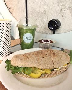 Gluten Free Vegan Pulled Peas Pita Sandwich at Well Coffee Shop in Helsinki, Finland
