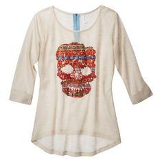 Xhilaration® Junior's Skull Knit Top - Ivory