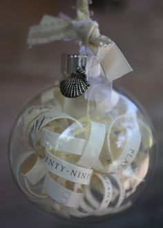 Cut up wedding invitation and put in clear christmas ornament for a gift for their first christmas together