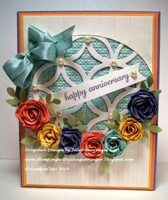 Stamping with Julie Gearinger: Floral Anniversary- Three Challenges in One!