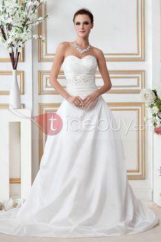 ウェディングドレス Aラインスイートハートネック 袖なしひだ飾りチャペルトレーン