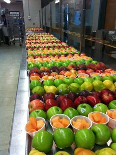 Colorful fruit preparation at the biggest high school in the district. It is no small feat making sure every student has access to fruit and vegetables!