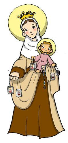 VIRGEN DEL CARMEN Catholic Crafts, Catholic Art, Catholic Saints, Religious Art, Jesus Cartoon, Mama Mary, Holy Mary, Blessed Virgin Mary, Bible Stories
