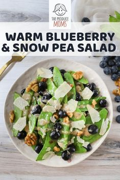 Warm Blueberry and Snow Pea Salad + North Bay Produce Sweepstakes | Check out this flavor packed recipe, perfect for a light lunch. | The Produce Moms Healthy Summer Recipes, Healthy Salad Recipes, Healthy Snacks, Healthy Eating, Easy Recipes, Savory Salads, Easy Salads, Savoury Dishes, Perfect Salad Recipe