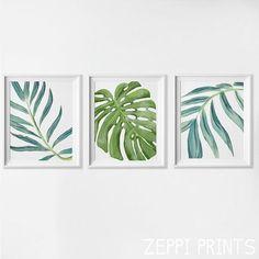 Beach Art Prints, Watercolor Beach Nursery Art, Tropical Palm Leaves Wall Art…