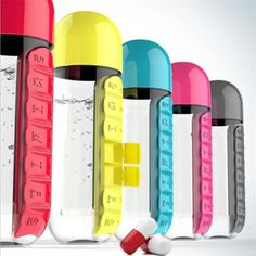 The perfect way to carry your pills wherever you go! Ensure you never forget your pills again as they become literally part of your water bottle! The bottle comes with an in-built storage compartment down the side with individual sections to seperate any pills or medication for different days.Main Features: 2in1 where you have all your pills in one place built in your water bottle. 7 sections labelled for each day of the week to seperate your pills/medication Portable so you can take it anywhere Cheap Water Bottles, Plastic Bottles, Pill Box Organizer, Outdoor Storage Boxes, Pill Boxes, Bottle Design, Drinkware, Storage Organization, Drink Bottles