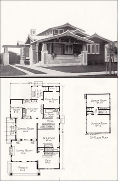 Asian-style Airplane Bungalow - 1918 House Plans by E. W. Stillwell - California Homes