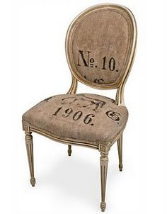 You will start out with a burlap upholstered chair, stool, etc. If you need a how to, to upholster a chair try here . Painted Furniture, Diy Furniture, Burlap Chair, Burlap Sacks, Rustic Chair, Muebles Shabby Chic, French Chairs, Grain Sack, Corn Grain