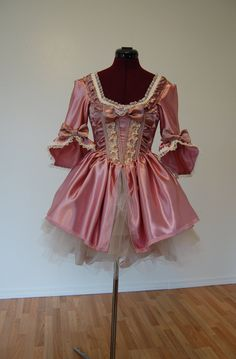 Pink cupcake and Champagne Mini Marie Antoinette Victorian dress costume with tutu. $195.00, via Etsy.