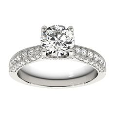 Transcendent Brilliance 14k Gold 1 1/2ct TDW White Diamond Antique Style Engagement Ring (F-G, VS1-VS2) (White - Size 6), Women's, Rose