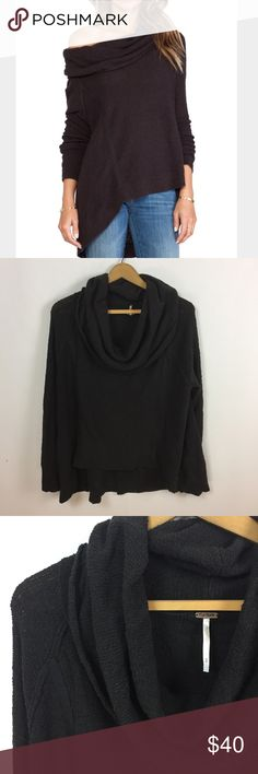 Free People black pebble cowl slouchy sweater Size medium. 84% cotton, 16% nylon. Color: Washed black. Excellent condition, no flaws. Free People Sweaters Cowl & Turtlenecks