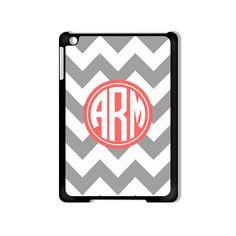 Personalized iPad Mini Case  Gray And White Chevron by StylishCase