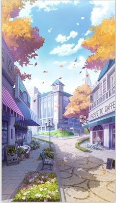 Diamond Painting Town in Autumn Paint with Diamonds Art Crystal Craft Decor Anime Backgrounds Wallpapers, Anime Scenery Wallpaper, Aesthetic Pastel Wallpaper, Cute Wallpapers, Aesthetic Wallpapers, Fantasy Art Landscapes, Fantasy Landscape, Aesthetic Art, Aesthetic Anime